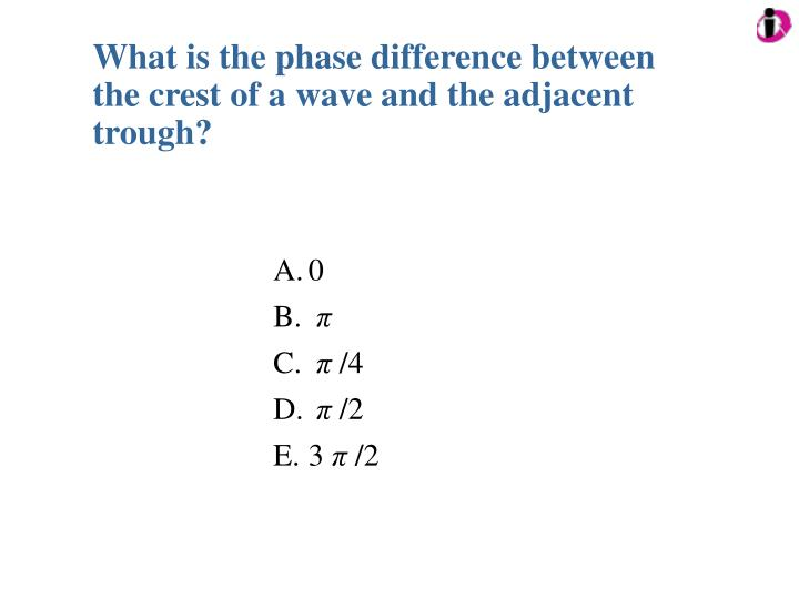What is the phase difference between the crest of a wave and the adjacent trough?