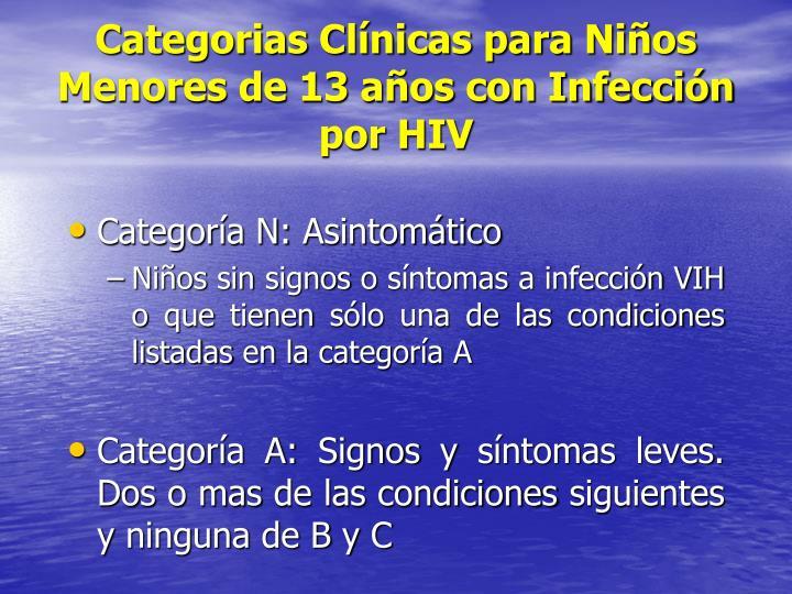 Categorias Clínicas para Niños Menores de 13 años con Infección por HIV