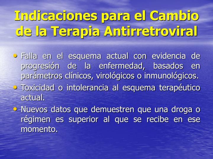 Indicaciones para el Cambio de la Terapia Antirretroviral