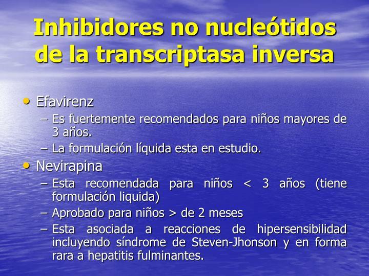 Inhibidores no nucleótidos de la transcriptasa inversa