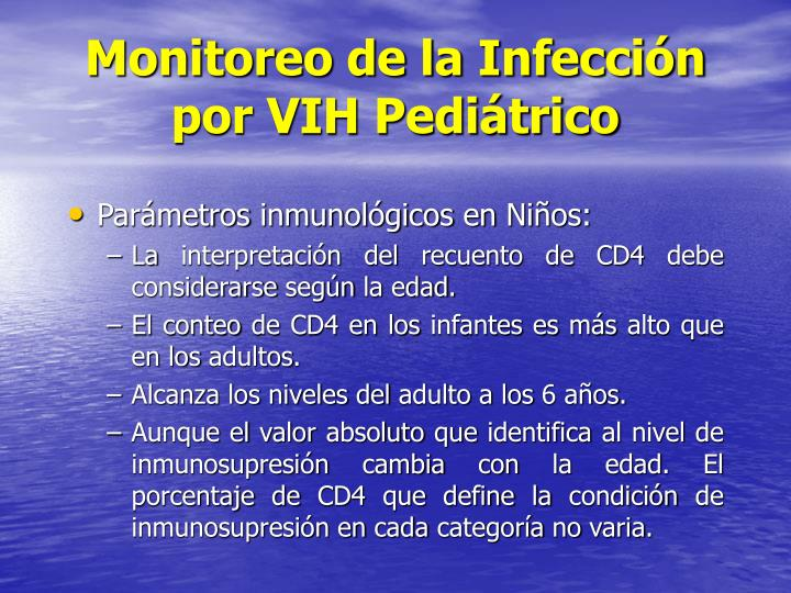 Monitoreo de la Infección por VIH Pediátrico