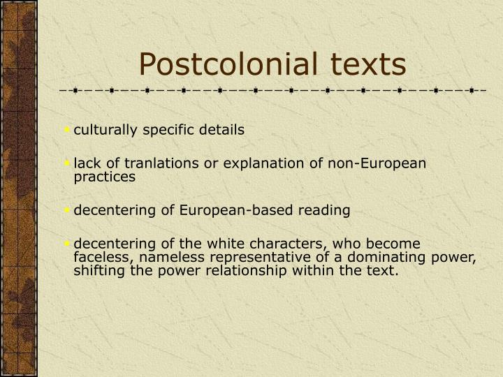 Postcolonial texts