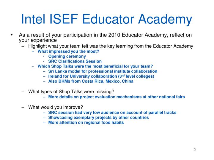 Intel ISEF Educator Academy