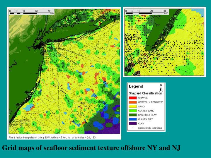 Grid maps of seafloor sediment texture offshore NY and NJ
