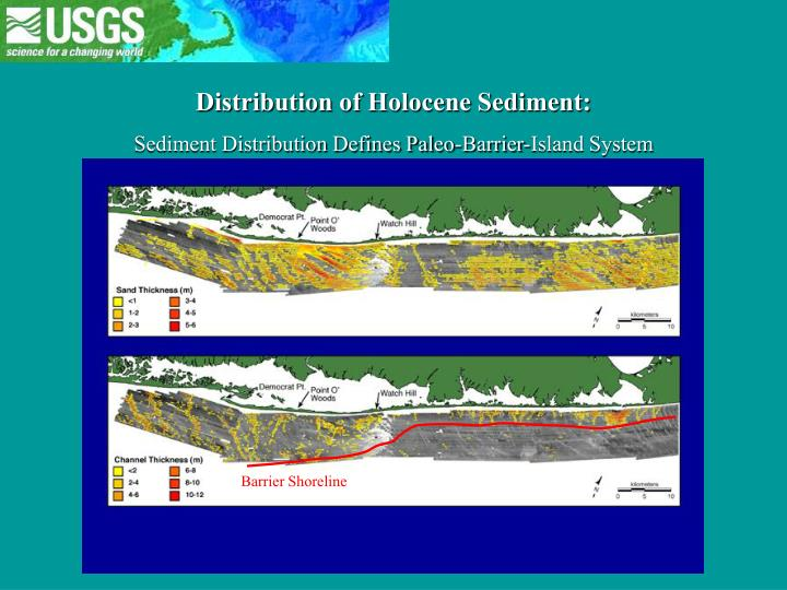 Distribution of Holocene Sediment: