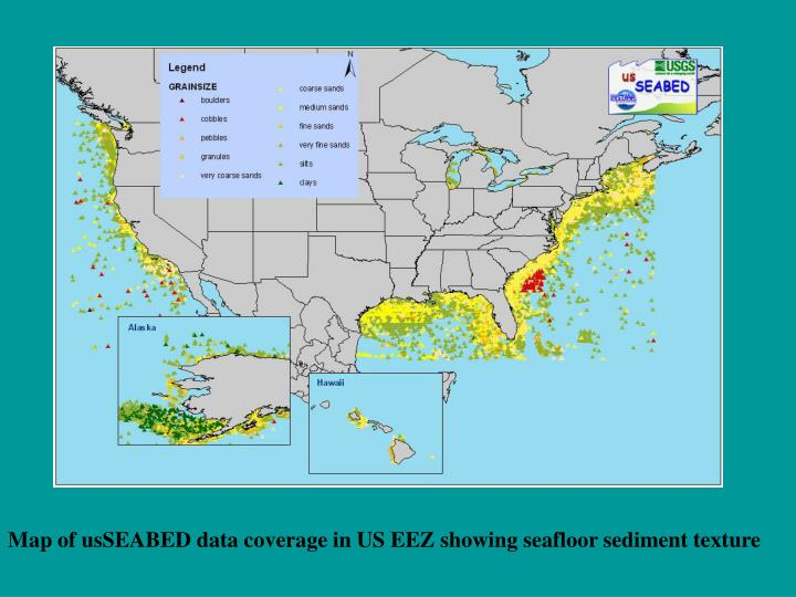 Map of usSEABED data coverage in US EEZ showing seafloor sediment texture