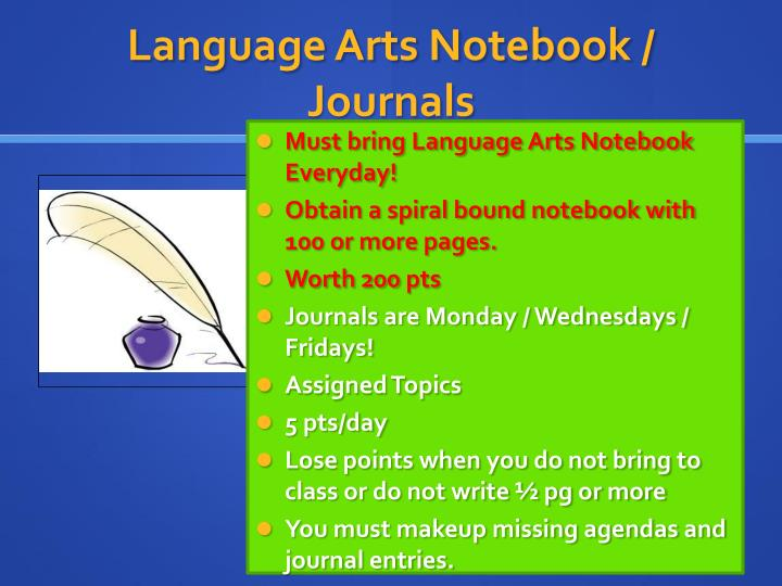 Language Arts Notebook / Journals
