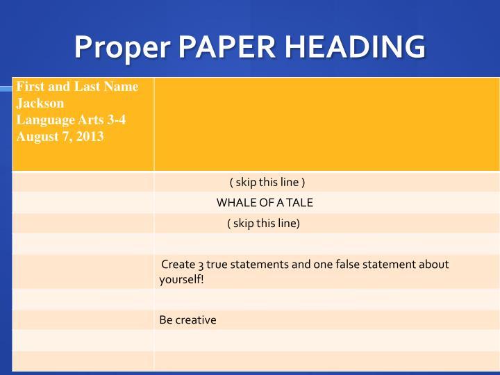 Proper PAPER HEADING