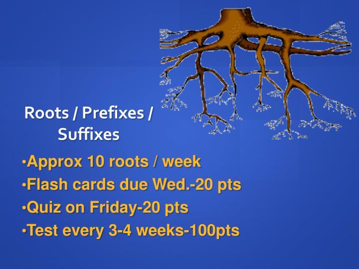 Roots / Prefixes / Suffixes