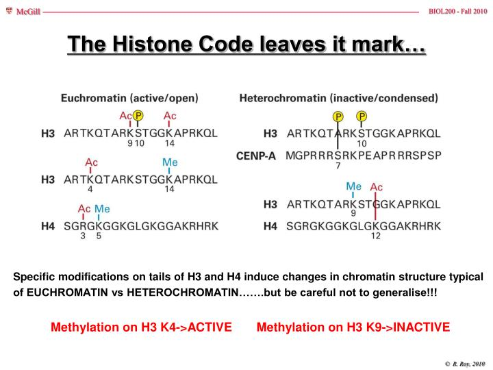The Histone Code leaves it mark…