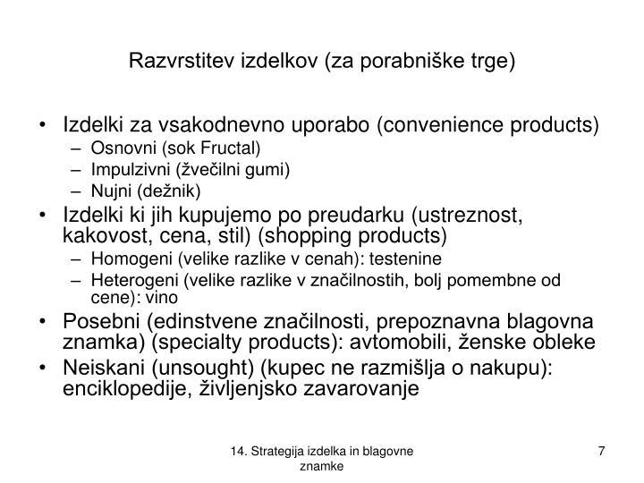 Razvrstitev izdelkov (za porabniške trge)