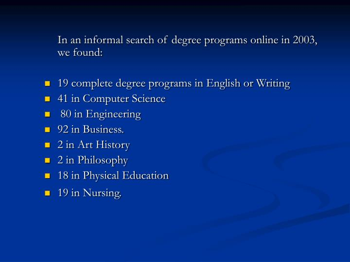 In an informal search of degree programs online in 2003, we found: