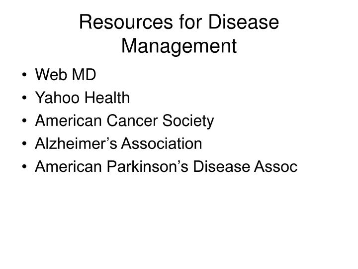 Resources for Disease Management