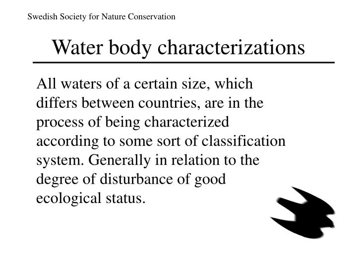 Water body characterizations