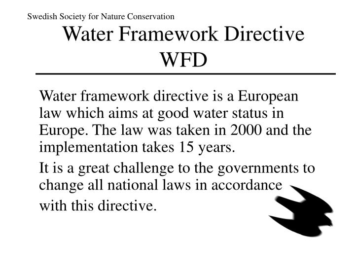 Water f ramework d irective wfd