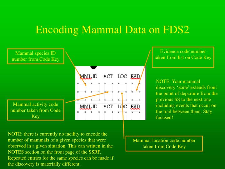 Encoding Mammal Data on FDS2
