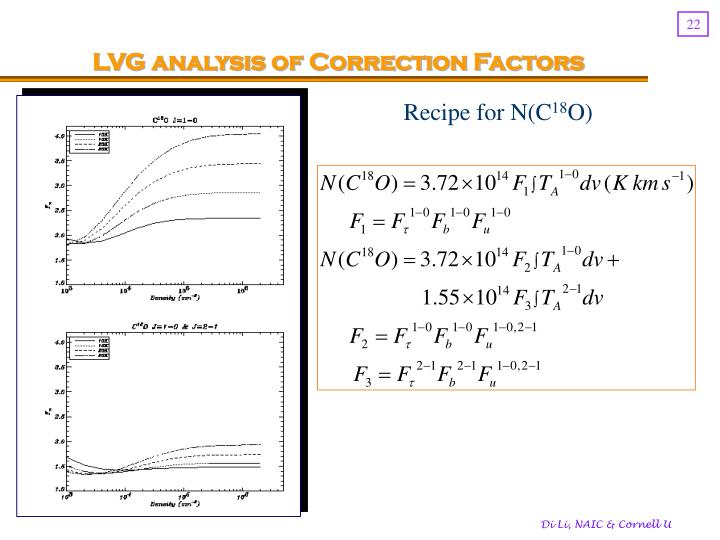 LVG analysis of Correction Factors