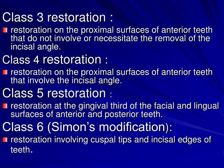Class 3 restoration :