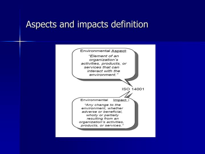 Aspects and impacts definition
