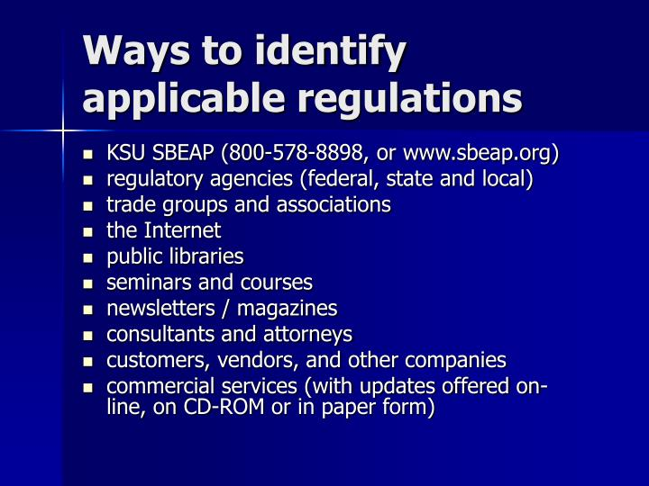 Ways to identify applicable regulations