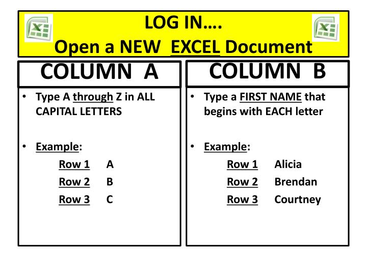 Log in open a new excel document
