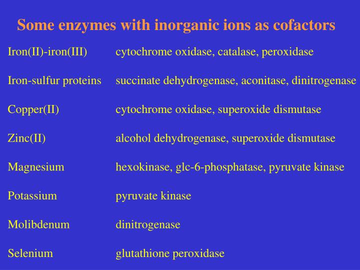 Some enzymes with inorganic ions as cofactors