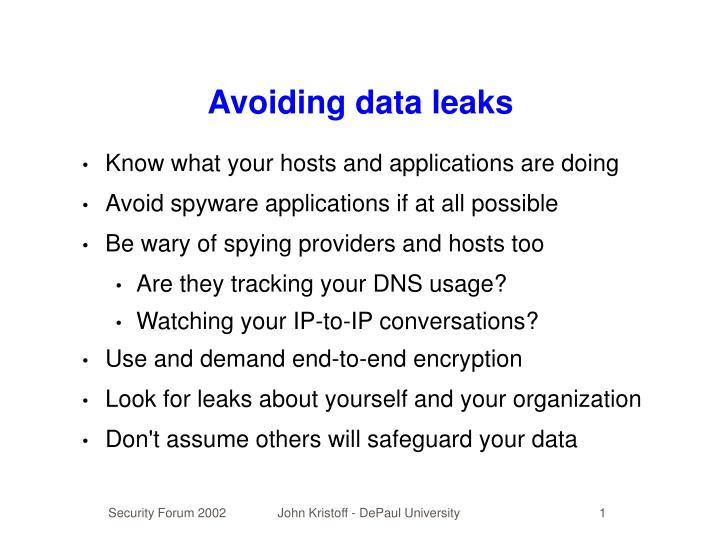 Avoiding data leaks