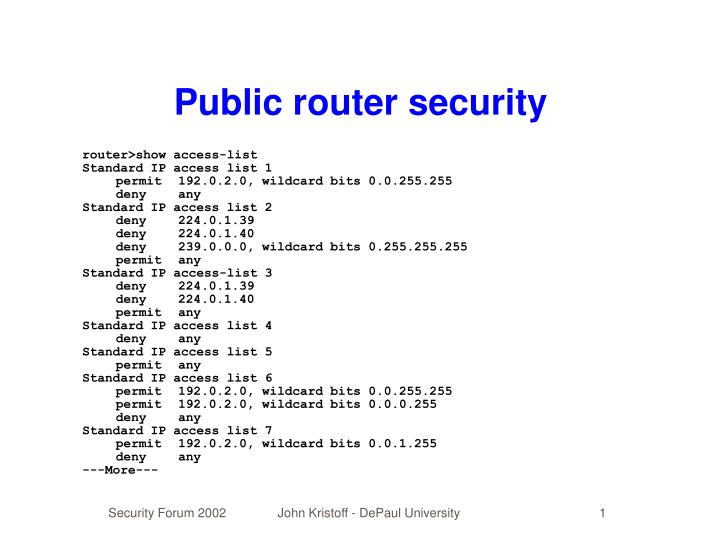 Public router security