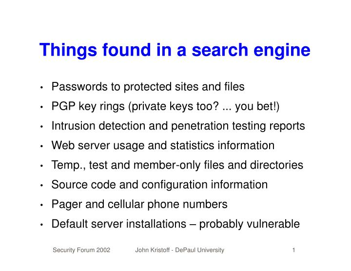 Things found in a search engine