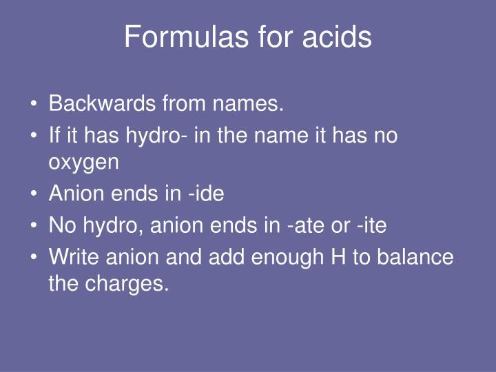 Formulas for acids