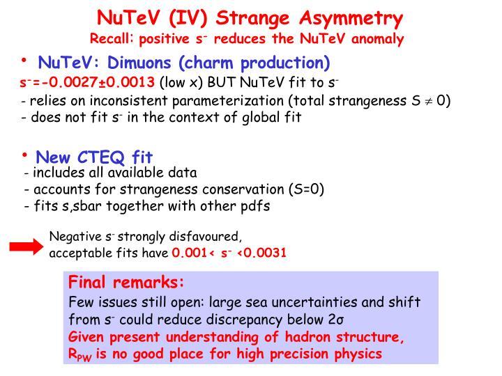 NuTeV (IV) Strange Asymmetry