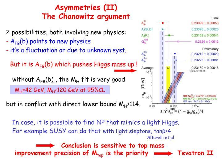 Asymmetries (II)