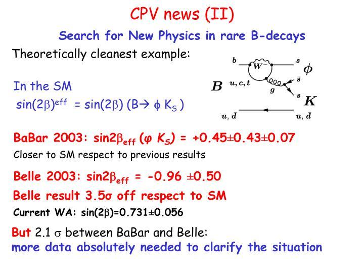 CPV news (II)