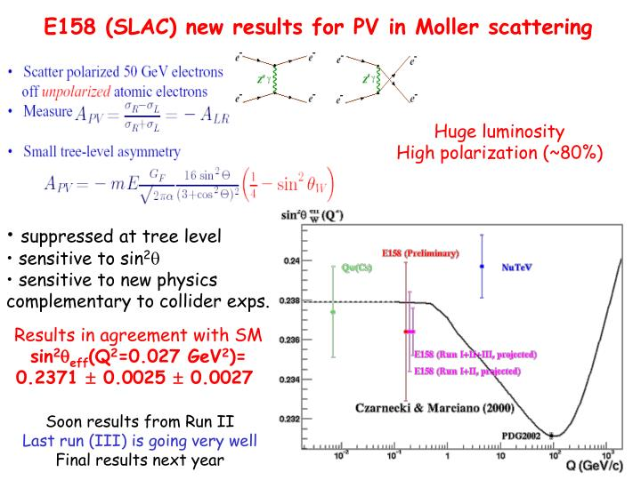 E158 (SLAC) new results for PV in Moller scattering