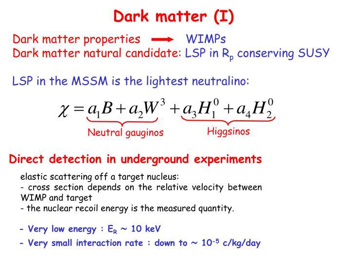 Dark matter (I)