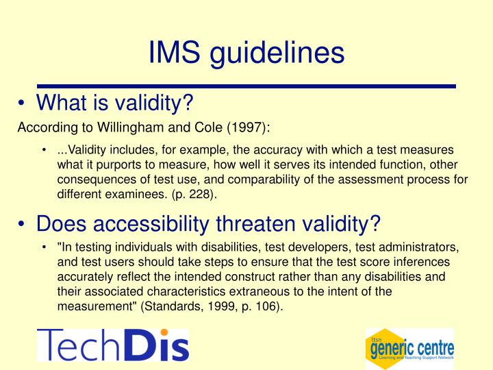 IMS guidelines