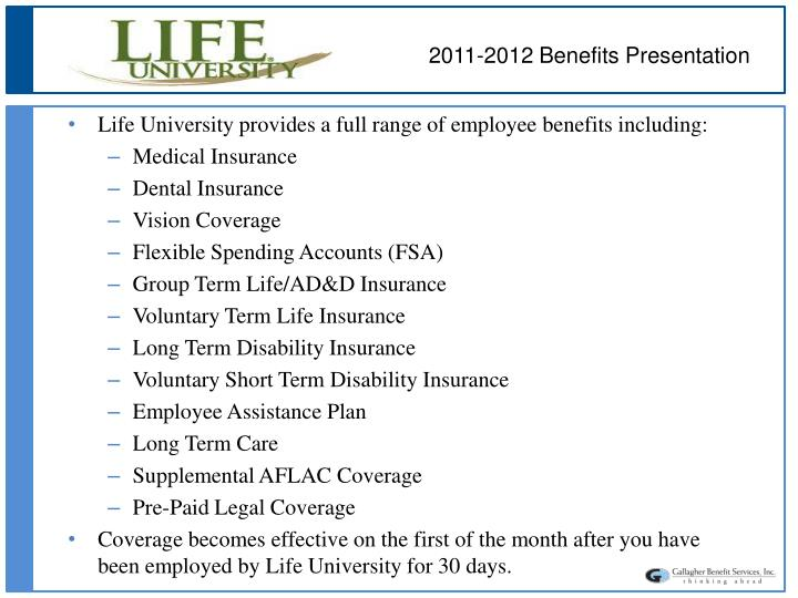 2011-2012 Benefits Presentation
