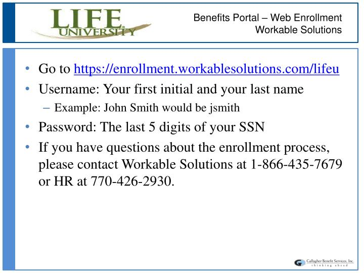 Benefits Portal – Web Enrollment