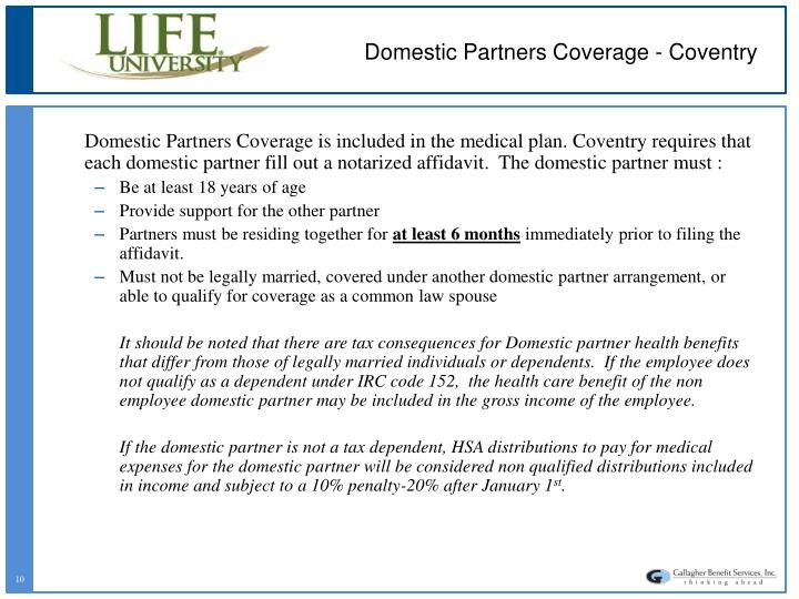 Domestic Partners Coverage - Coventry