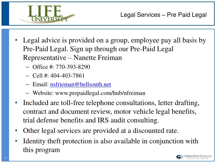 Legal Services – Pre Paid Legal