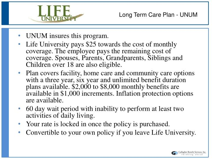 Long Term Care Plan - UNUM