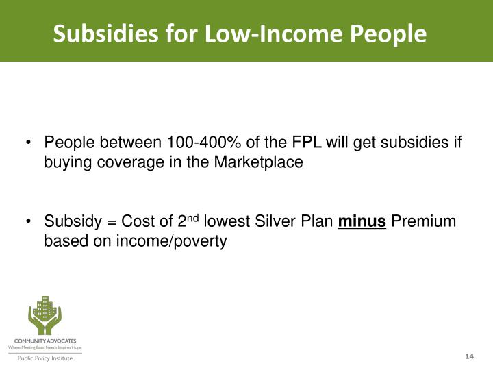 Subsidies for Low-Income People
