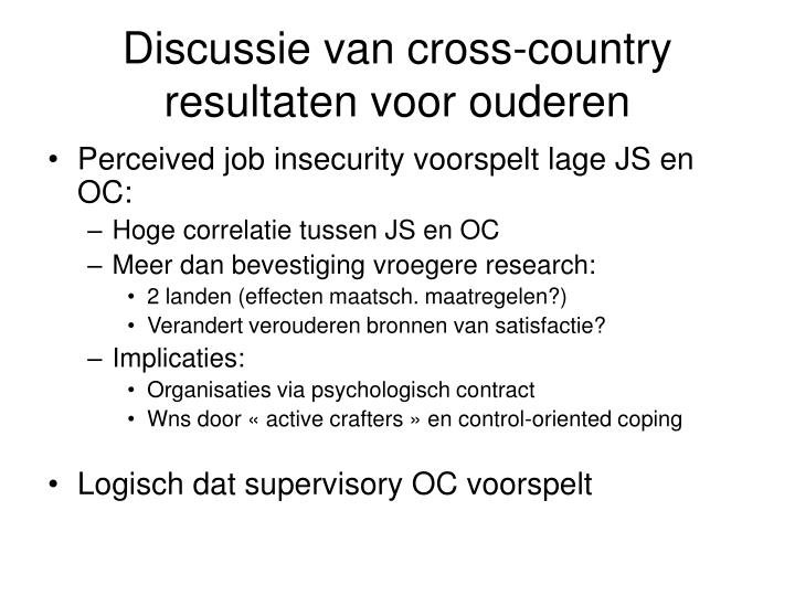 Discussie van cross-country resultaten voor ouderen