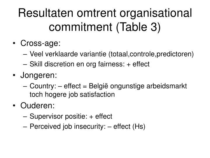 Resultaten omtrent organisational commitment (Table 3)