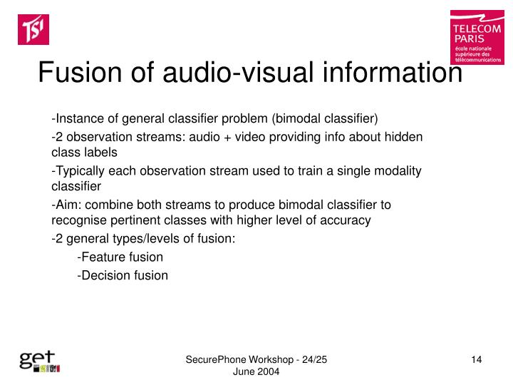Fusion of audio-visual information