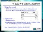 fy 2009 pps budget adjustment