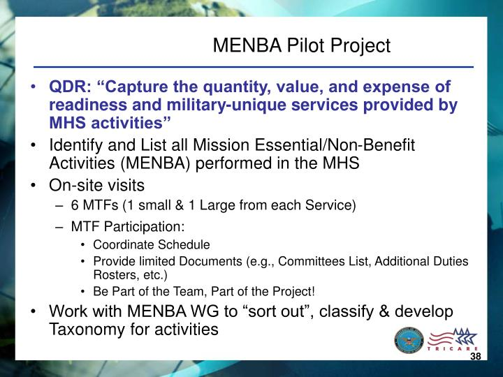 MENBA Pilot Project