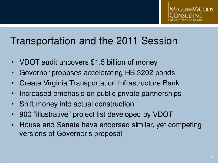 Transportation and the 2011 Session