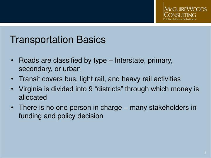 Transportation basics