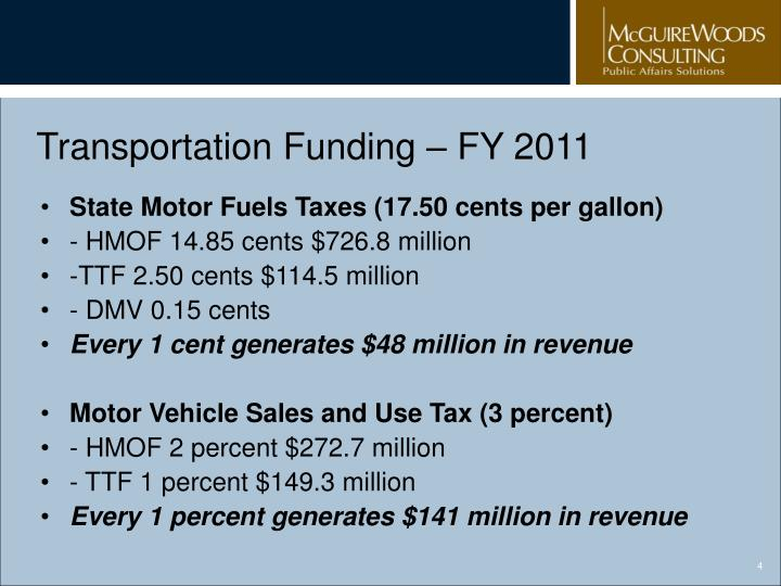 Transportation Funding – FY 2011